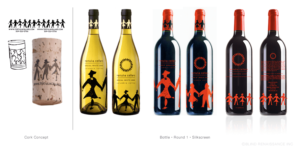 Beginning concepts for cork and bottle designs with silkscreening.