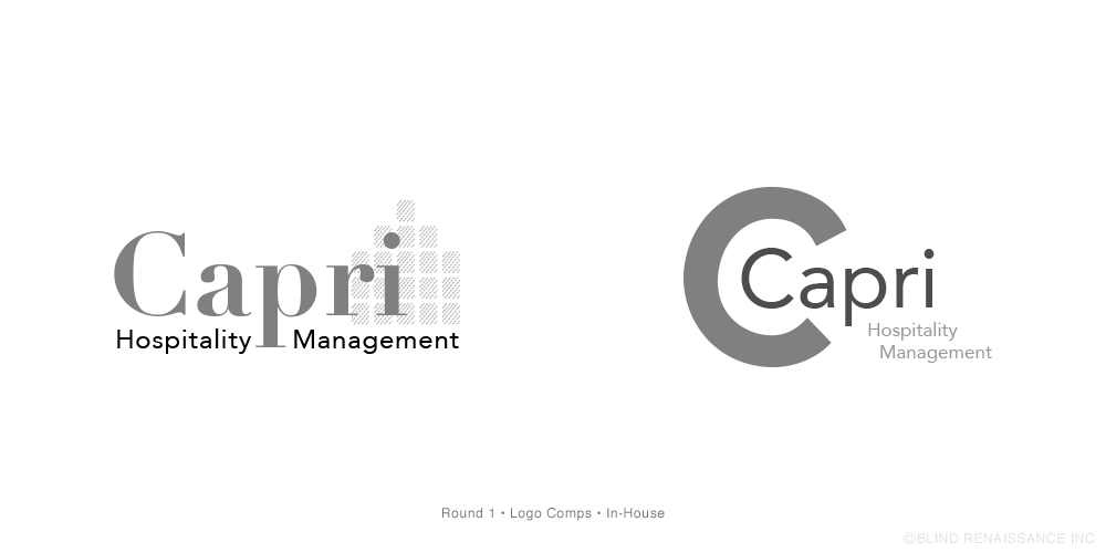 "Preliminary concepts focusing on an abstract hotel structure and the ""C"" of Capri."