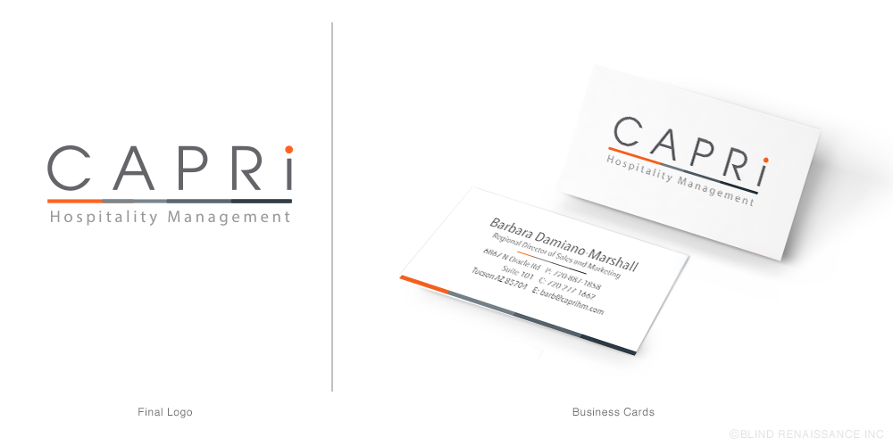 The clean, modern logo transitioned to the business cards using the bold orange and bar element.
