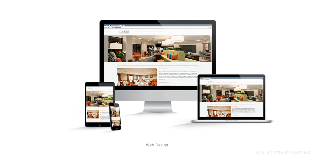Web design focusing on the bold, colorful hotel interiors while using the orange of the logo to call out navigation and headlines.