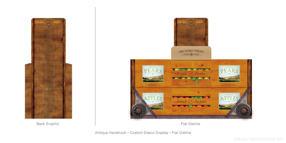 BR created a custom dieline for a point of purchase display based on an antique handtruck used in the orchards.