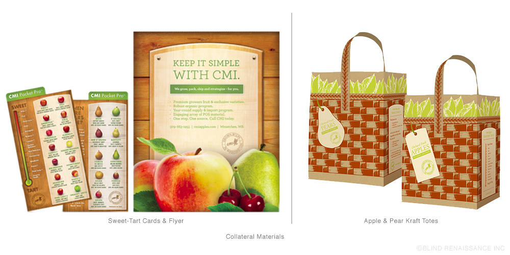 The wood apple box look continue to collateral materials such as a flyer and sweet-tart cards. Kraft tote bags designed as takeaways for customers.