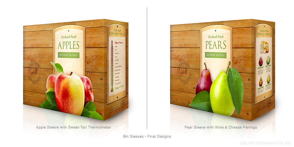 Final designs for apple and pear bin sleeves with a sweet-tart meter (left) and wine and cheese pairing (right).