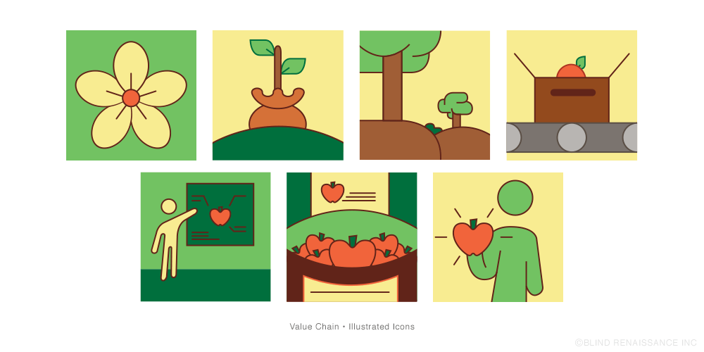 Full color illustrations for the value chain.