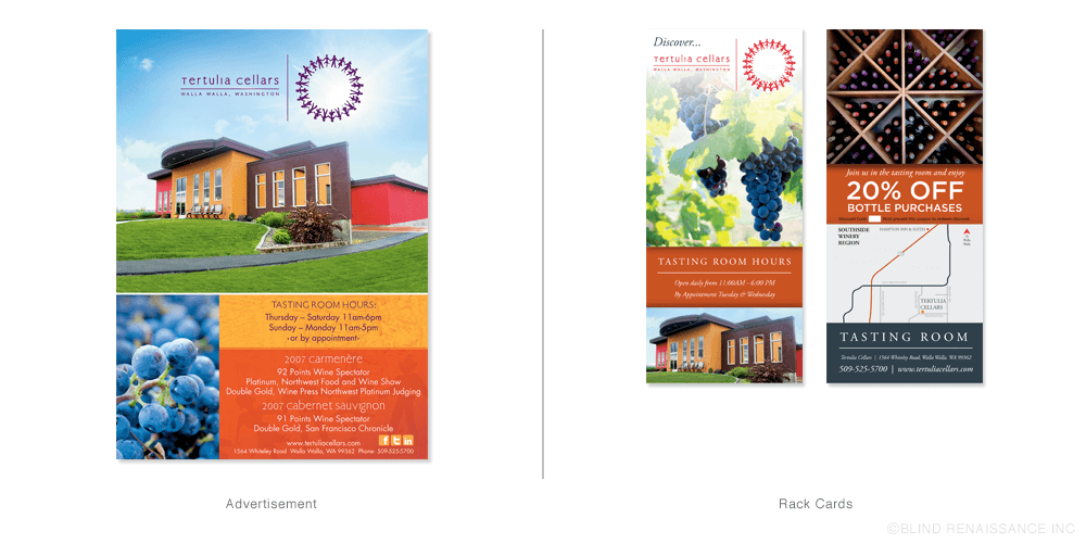 Bright, colorful advertisement and shelf talkers show the personality of Tertulia Cellars.