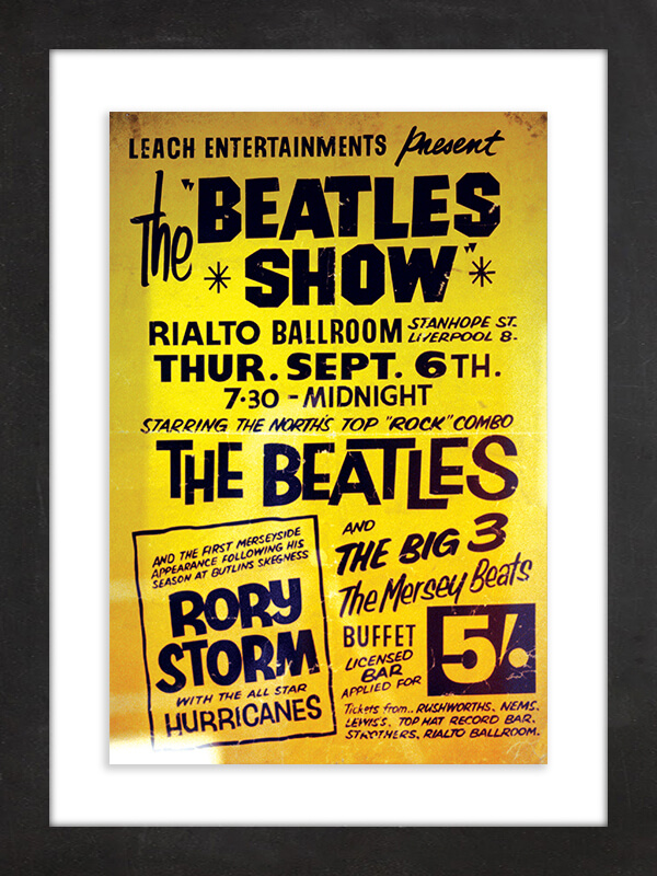 "The Beatles, 1962  Drummer Ringo Starr replaced Pete Best on Aug. 16, 1962, as a member of the Beatles. What makes this poster for ""The Beatles Show"" at the Rialto Ballroom particularly remarkable is that is promotes one of the earliest concerts by the band in its ultimate Lennon-McCartney-Harrison-Starr configuration, and it not only went down in the band's native Liverpool, but the bill also included Starr's old group, Rory Storm and the Hurricanes."