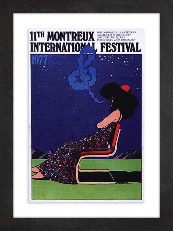 1th Montreux International Festival, 1977  Glaser (see No. 10) is also the artist behind this poster for 1977's 11th Montreux International Festival—better known as the Montreux Jazz Festival, held annually in Switzerland. Glaser produced a similar image for the 10th music festival and was part of the event's strategy to create collectible posters; later commissions went to fine artists including Niki de Saint Phalle, Jean Tinguely and Keith Haring.