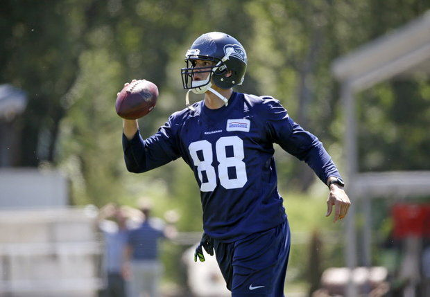 Jimmy Graham looking hot with the ball during practice.jpg