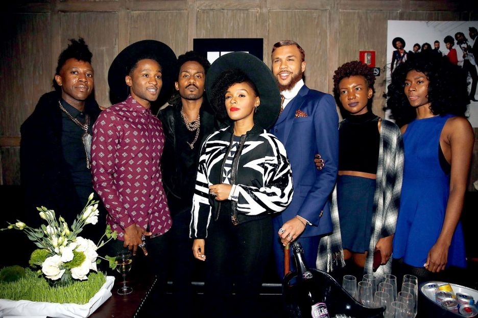 Janelle Monáe and her Wondaland Illuminati at a party.jpg
