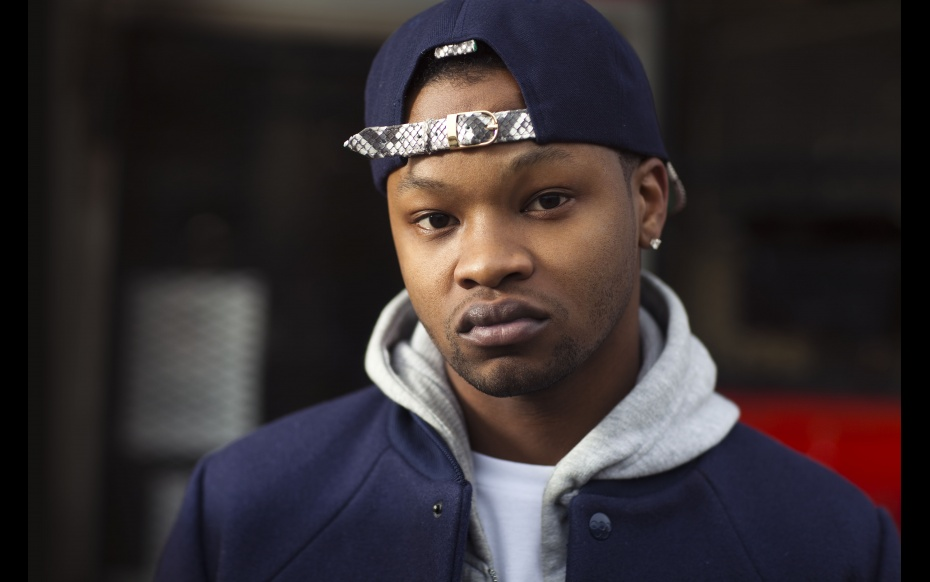 BJ The Chicago Kid looking hot and serious in a navy blue hat with snake skin trim.jpg