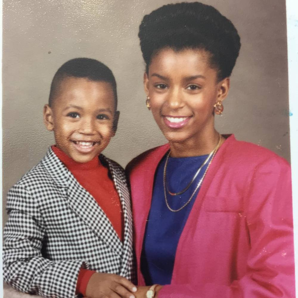Trey Songz and his mom when he was 3 years old.jpg