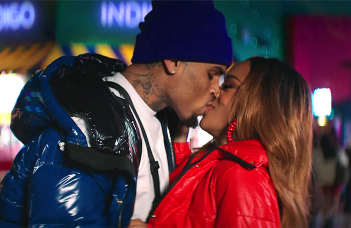 Chris Brown in the Undecided video with Serayah.jpg