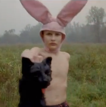 Jacob Sewell as Bunny Boy holding up a dead cat in Gummo (1997).