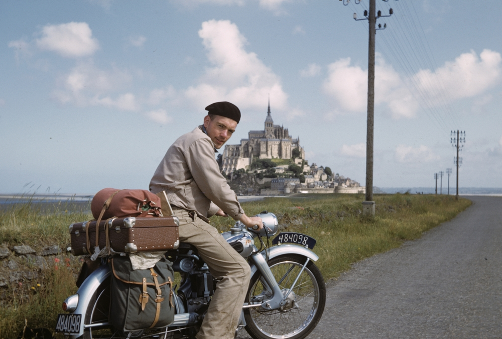 My dad took regular trips by motorcycle when he was a seminarian in Belgium. Here he is at Mont Saint-Michel, in Normandy, France, 1953.