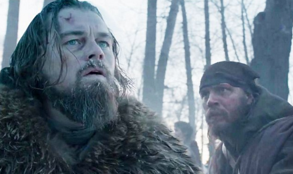 Leonardo DiCaprio, Tom Hardy, and Forrest Goodluck in Alexandro González Iñárritu's The Revenant.