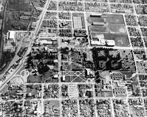 Above: 1950's aerial photograph of the U of O campus