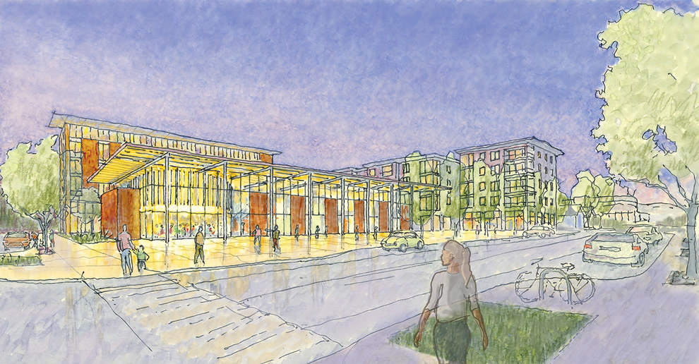 Conceptual sketch of Eugene City Hall block. City Hall with a renovated Council Chamber is in the foreground, near East Eighth Avenue and Pearl Street.