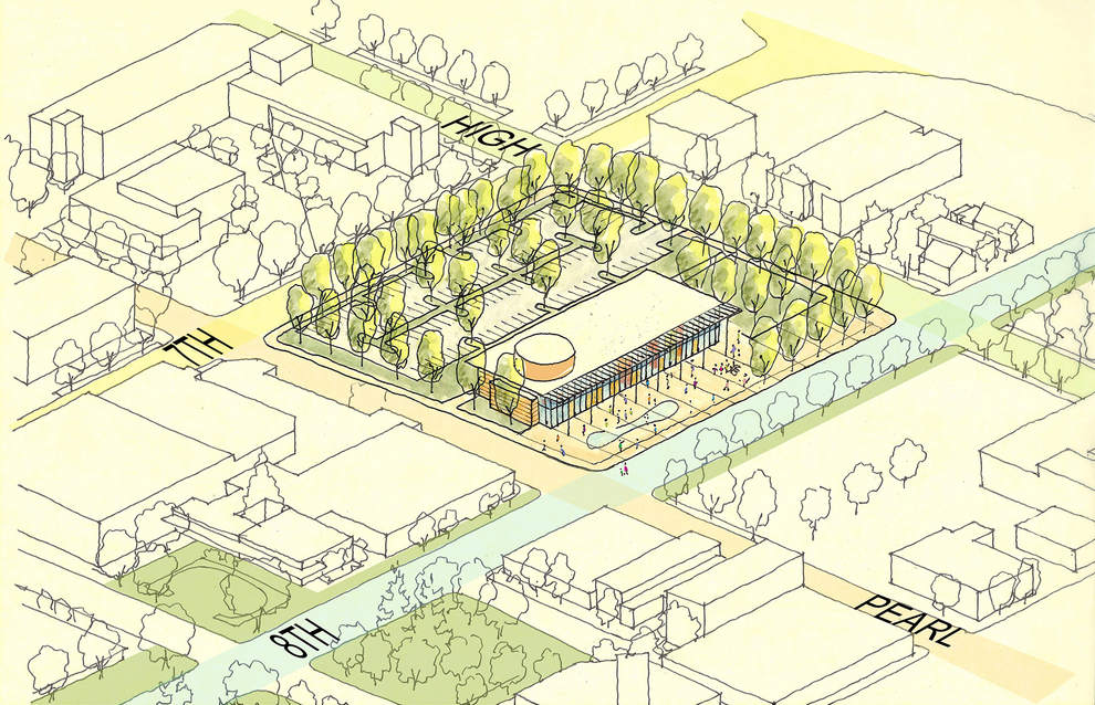 Conceptual sketch of Eugene City Hall block, showing what the block could look like in two years when Phase 1 (25,000 square feet) is complete.