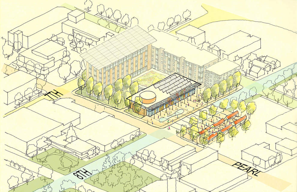 Conceptual sketch of Eugene City Hall block, showing what the block could look like with additional phases of construction on the City Hall site.