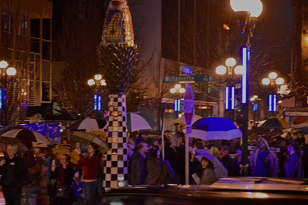 Downtown lighting ceremony was part of the February 14 First Friday Artwalk event.