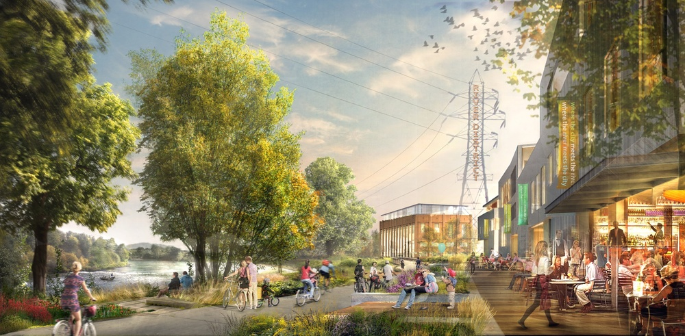 This image presents a concept for development of EWEB property on the Willamette River in downtown Eugene. (University of Oregon Foundation)