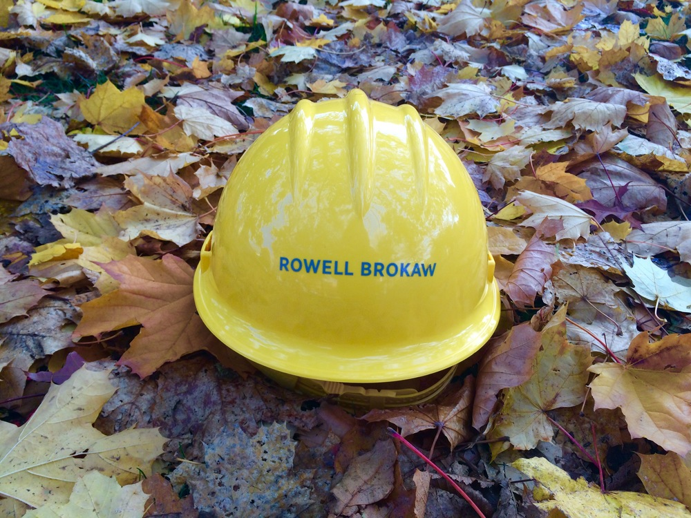 Rowell Brokaw's new hardhat in autumn camo