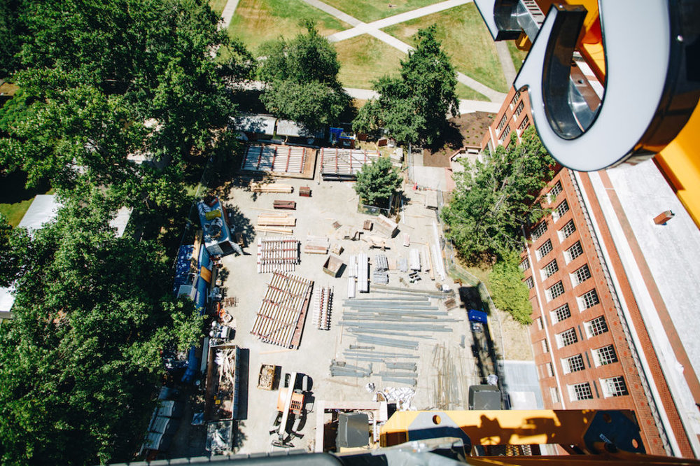 A look at construction materials at the site down below the crane. (Sarah Northrop/Emerald)