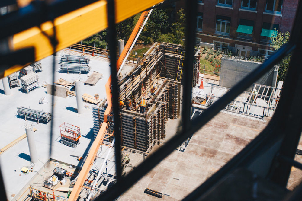 A view of the Tykeson Hall construction site from within the cab of the crane. (Sarah Northrop/Emerald)