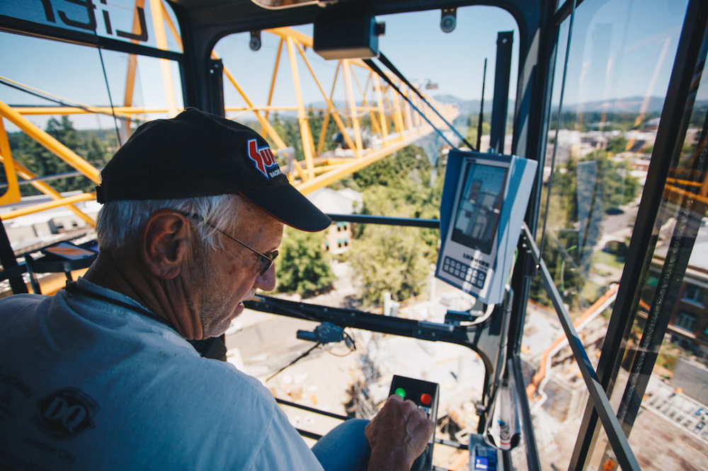 In Eugene, Ray McArthur operated cranes for the construction of Matthew Knight Arena, the EMU's renovation, student housing, Autzen Stadium's renovation, the Casanova extension, The Rec and the Jordan Schnitzer Museum of Art. (Sarah Northrop/Emerald)
