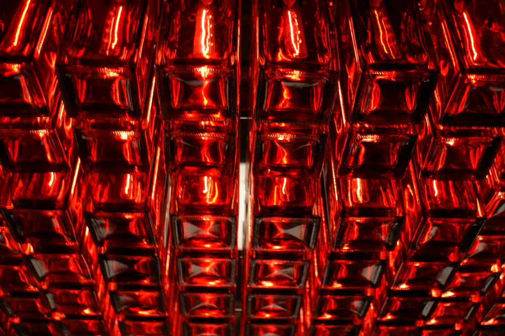 Red Glass Chandelier.