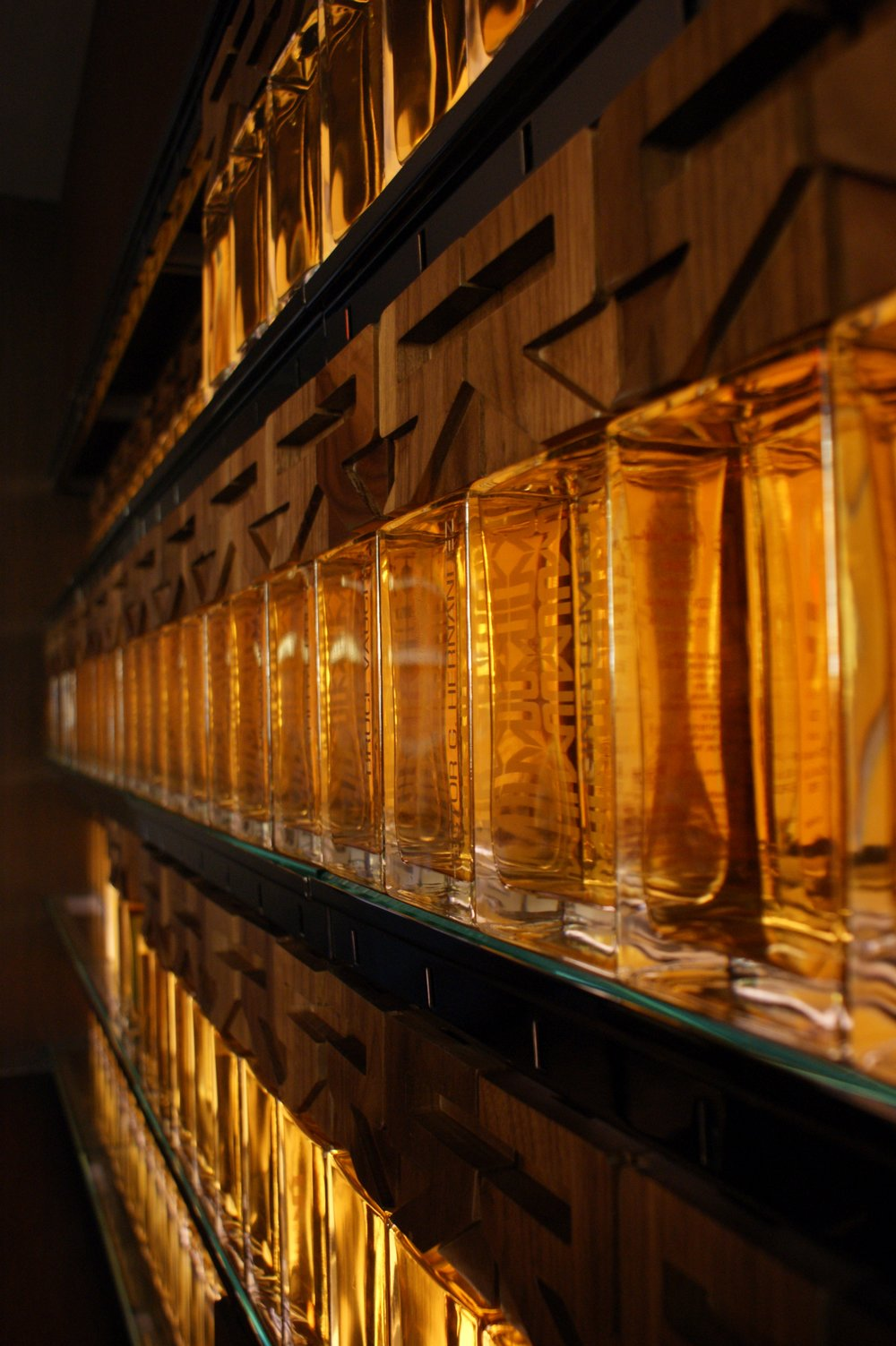 "Crystal ""bricks"" of Rivera's private stock of Tequila  reside under lock and key in the library."