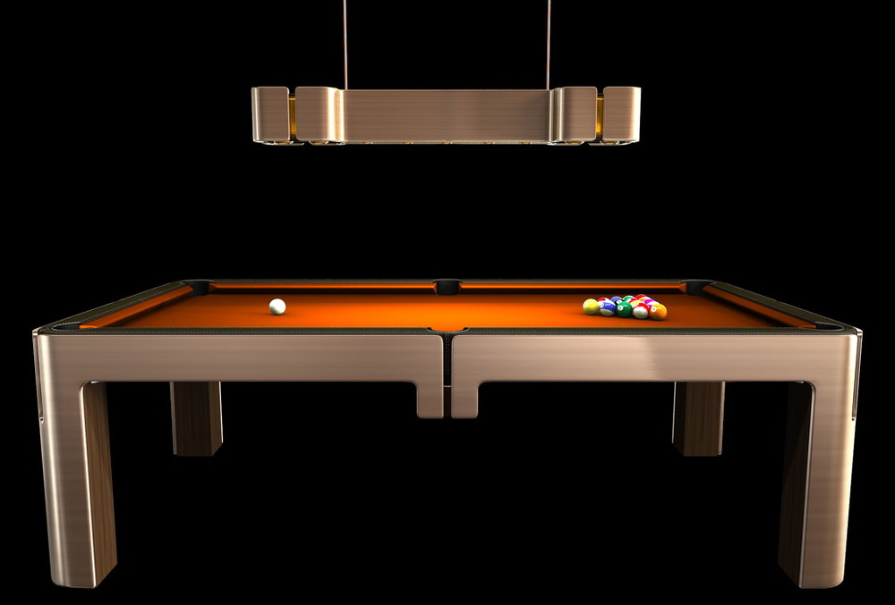 This Bronze Pool Table sends the balls back on the table on command.