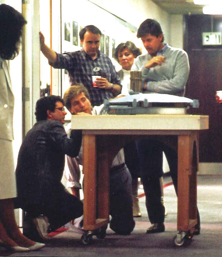 Sotto reviewing his Star Wars concept model with filmmaker George Lucas in 1986.