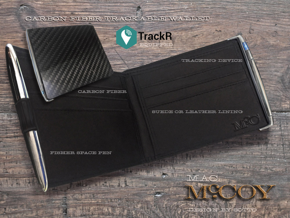 Another image depicting the look of the wallet with the hidden tracker element within. The blue pairing light confirms the TRACKR is on and live. ©SottoStudios/LA