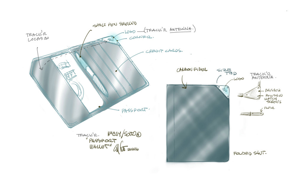 Thumbnail sketches explain to the team how the wallet should be constructed...©SottoStudios/LA