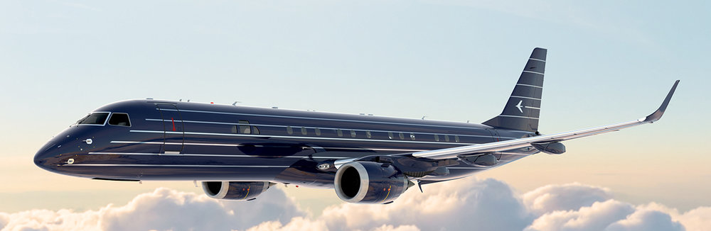 Streamlined like the 20th Century Limited, Embraer's breakthrough Lineage 1000E looking smart in Navy and nickel.