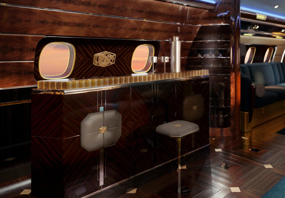 "The  Cloud Club  Bar recalls it's exclusive namesake that thrived in the penthouse spire of the iconic  1929 Chrysler Building , favored by Captains of Industry. With a bar that features fold-down stools and locks into the wall for takeoff, innovation still takes center stage at SottoStudios.  Embraer's Lineage 1000E  takes the concept of a ""club in the clouds"" to an even higher altitude. ©EEJ"