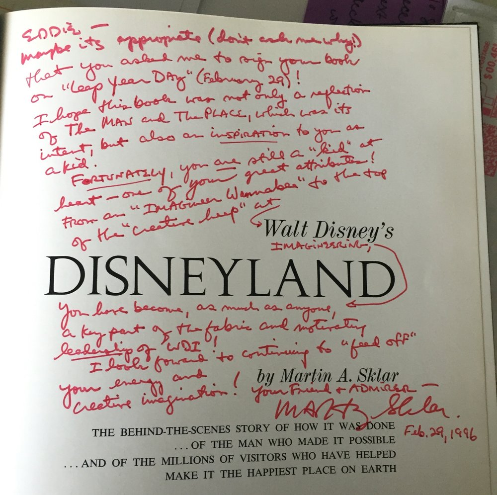 "One could not have a more encouraging leader and inspiration. This was not rare as many Imagineers held on to Marty's ""Red pen"" notes and comments.  Thanks Marty!"