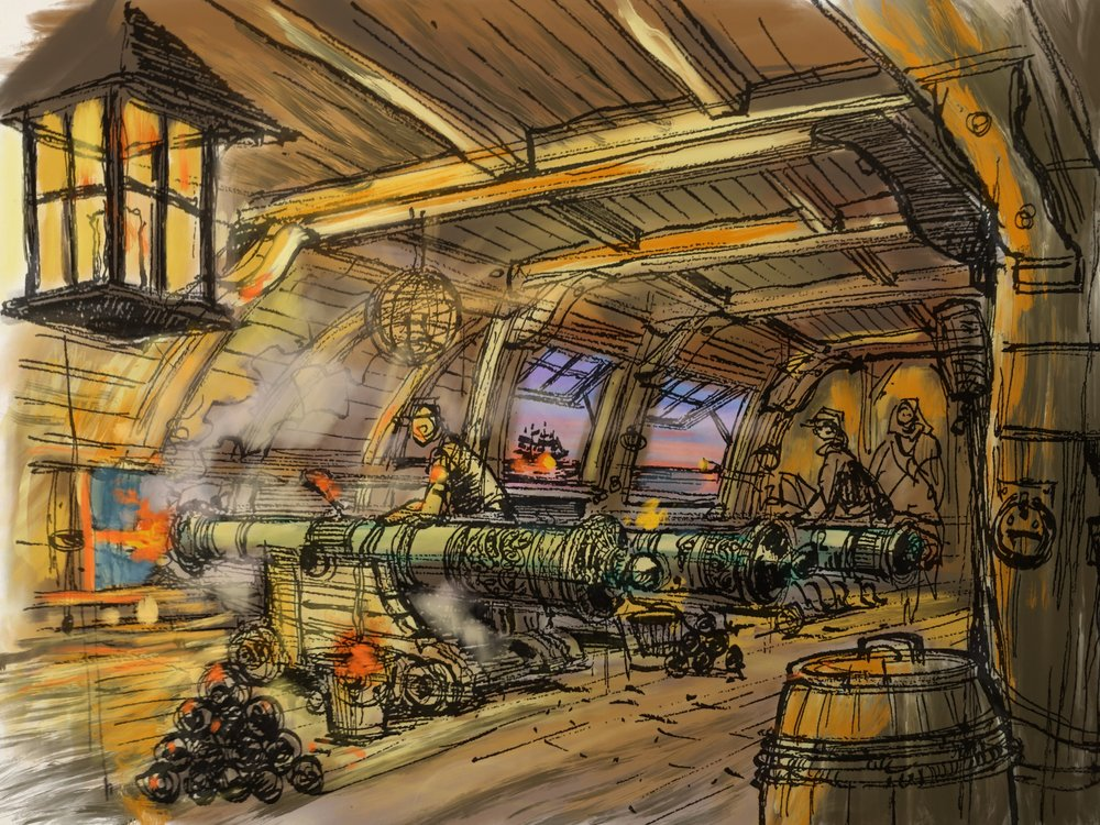 The Gundeck - Here we see how the underground fort used to protect itself with demonstrations of captured Spanish cannons.