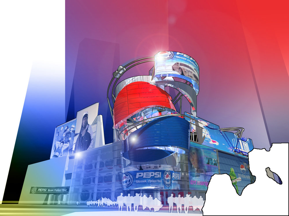 P3 Pepsi project.  Imagine a giant Cup of Pepsi as an interactive  LED Billboard with a rollercoaster embedded in it.  We call it a Thrillboard!