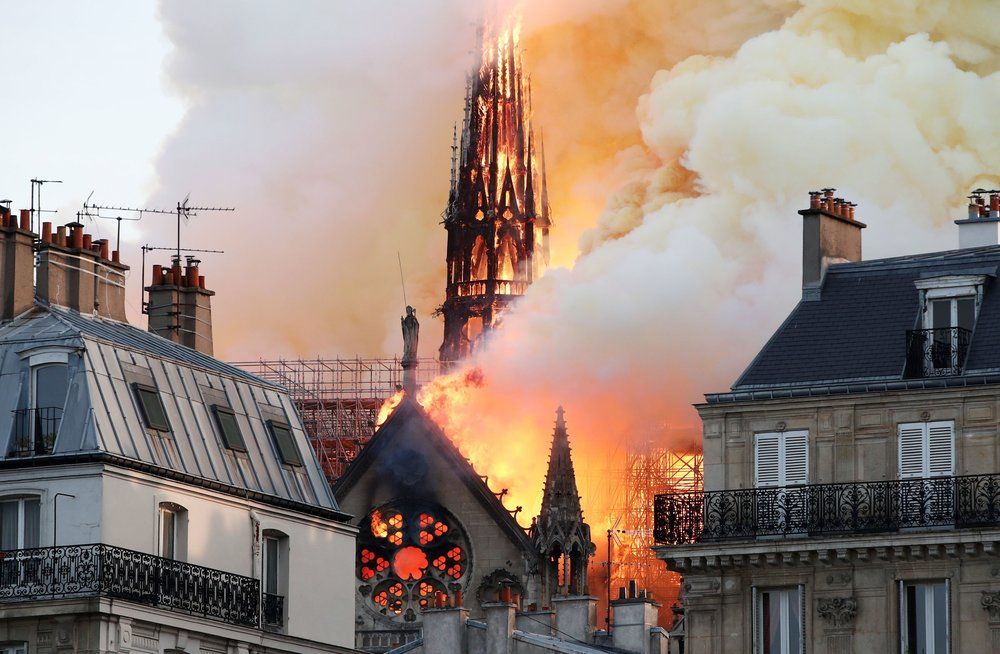 Tragic fire at Notre Dame Cathedral as fire consumes iconic 19th century spire.