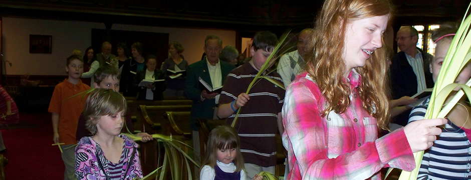 Palm Sunday - Children bringing  in the Palms