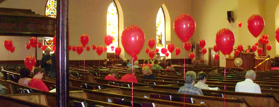 Getting ready for service on  Pentecost May 2012 in the sanctuary