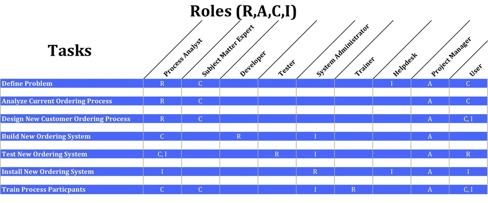 RACI Matrix with roles on the vertical axis and tasks on the horizontal axis