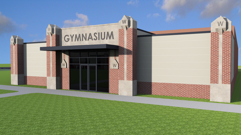 New Gym fascia to match new construction