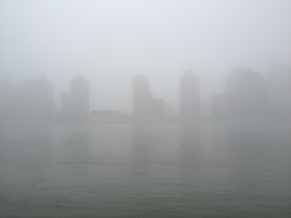 Roosevelt Island in the fog