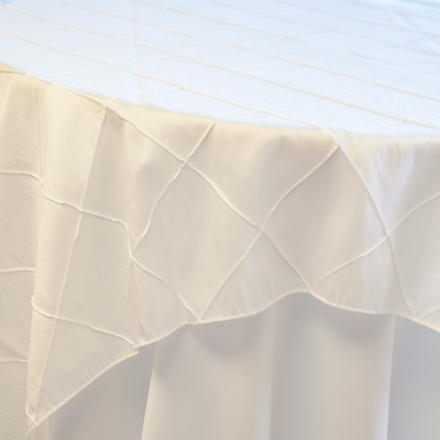 "White Pintuck  Available In: 84"" square and 120"" round"