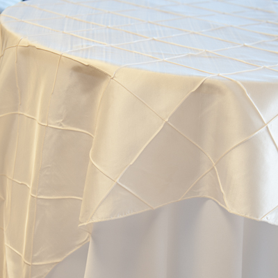 "Ivory Pintuck  Available In: 84"" square and  New! 120"" round"