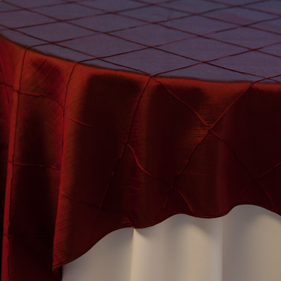 "Burgundy Pintuck  Available In: 84"" square and runners"