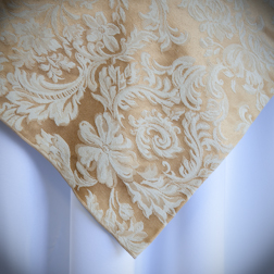 "Gold Damask   Available In: 84"" Square and 120"" Round"